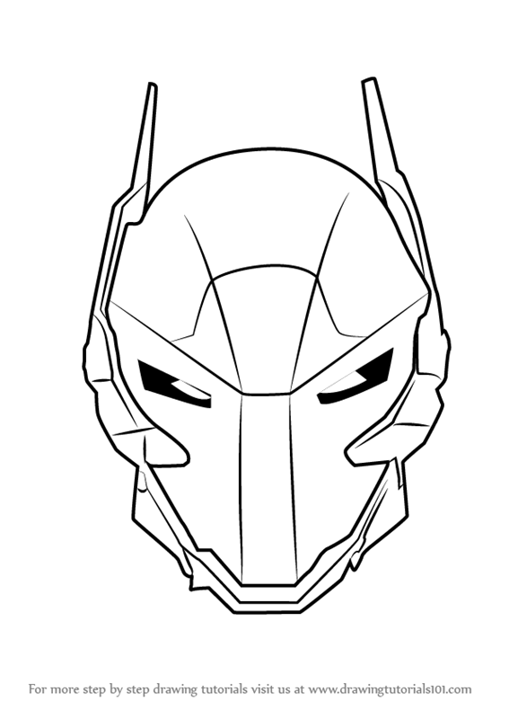 Learn How To Draw Arkham Knight Helmet From Batman Batman Step By