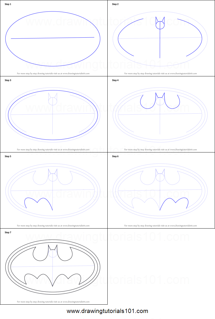 How To Draw Batman Logo Printable Step By Step Drawing Sheet
