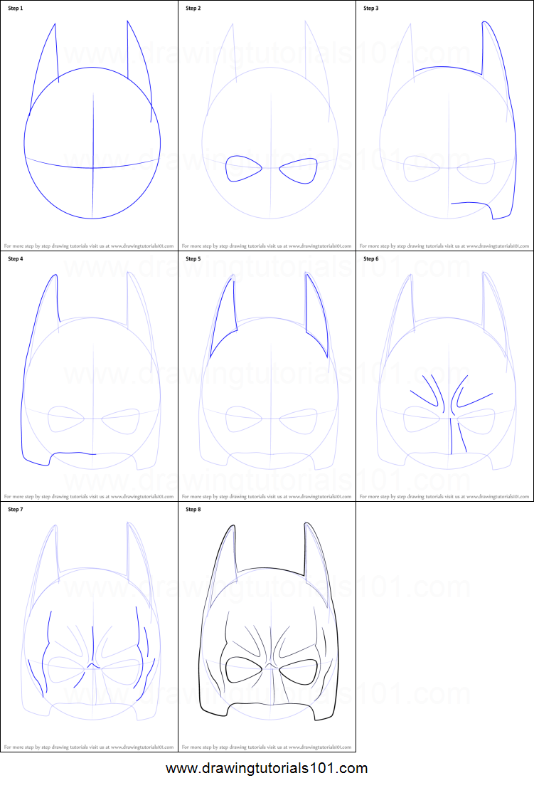 image relating to Printable Batman Mask referred to as How toward Attract Batman Mask printable phase by means of phase drawing sheet