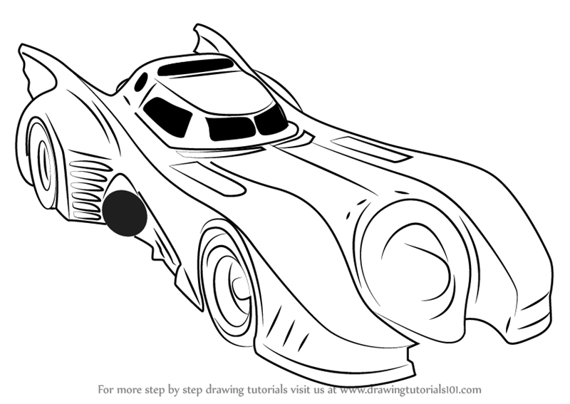 Learn How To Draw A Batmobile 1989 (Batman) Step By Step : Drawing Tutorials
