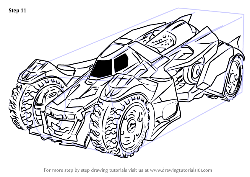 Step by Step How to Draw Batmobile