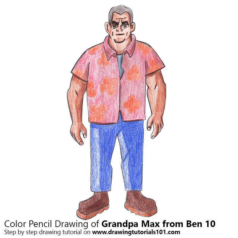 Grandpa Max from Ben 10 Color Pencil Drawing