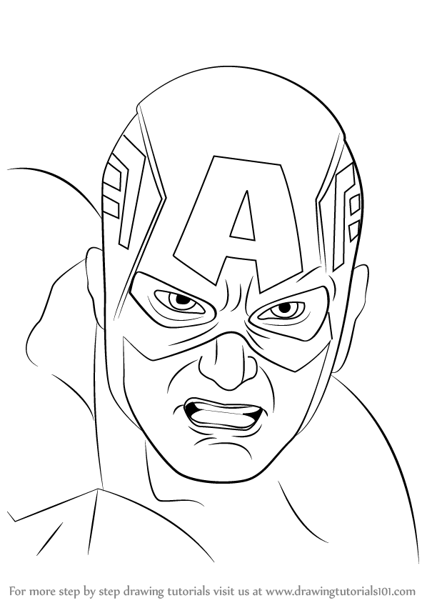 Learn How to Draw Captain America Face (Captain America) Step by Step ...