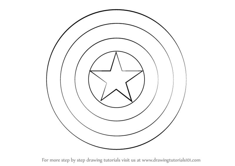 Learn how to draw captain america shield captain america for Captain america shield coloring page