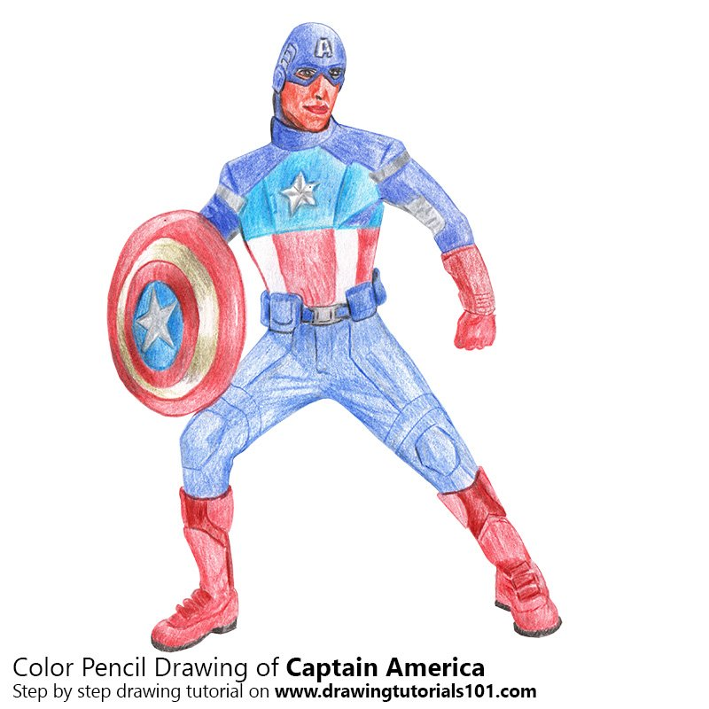 Captain America Color Pencil Drawing