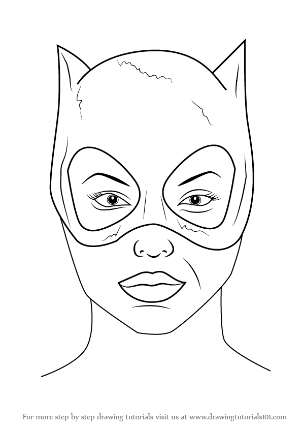 Learn How To Draw Catwoman Face Catwoman Step By Step Drawing Tutorials