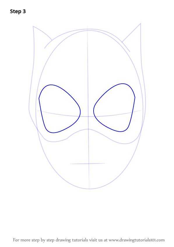 How to draw catwoman face catwoman step by step drawing tutorials