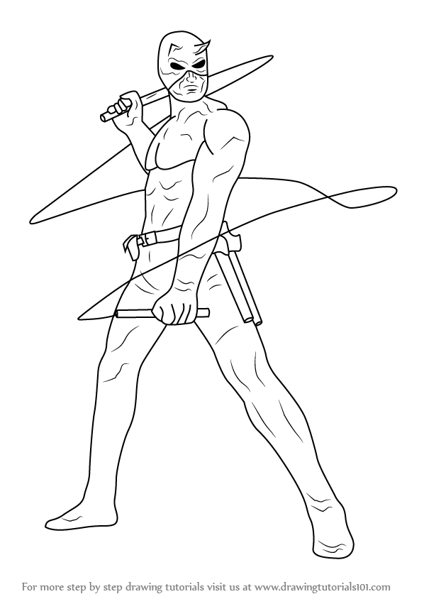 Learn how to draw daredevil daredevil step by step for Daredevil coloring pages