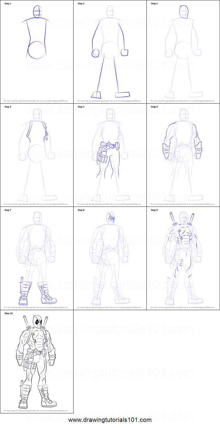 how to draw deadpool full body printable step by step