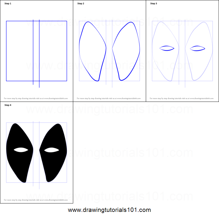 How to Draw Deadpool Mask printable step by step drawing ...