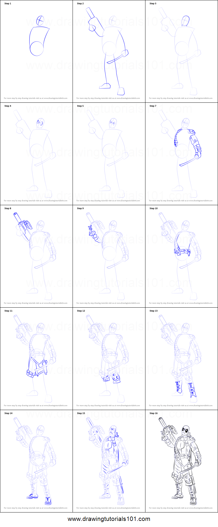 How to Draw Deadpool with a Gun printable step by step ...