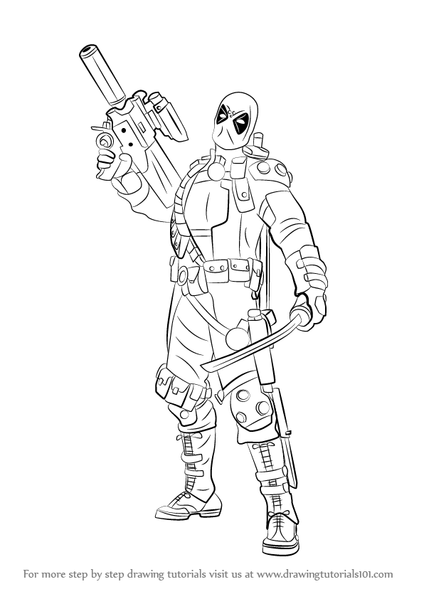 how to draw deadpool with a gun