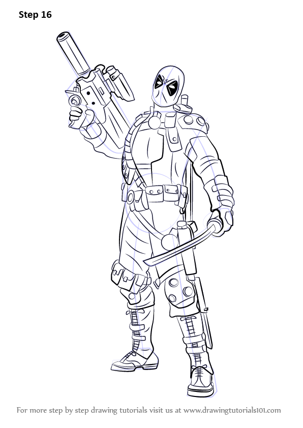 Step By Step How To Draw Deadpool With A Gun