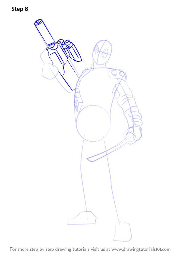 Learn How to Draw Deadpool with a Gun (Deadpool) Step by ...   596 x 842 png 45kB