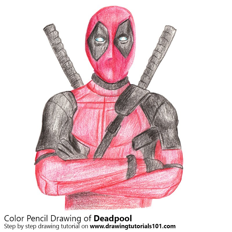 Deadpool color pencil drawing