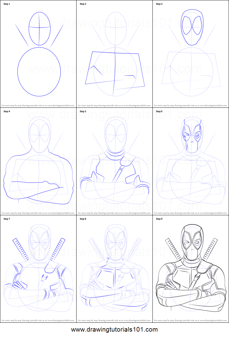 How to draw deadpool printable step by step drawing sheet for Learn to draw cartoons step by step lessons