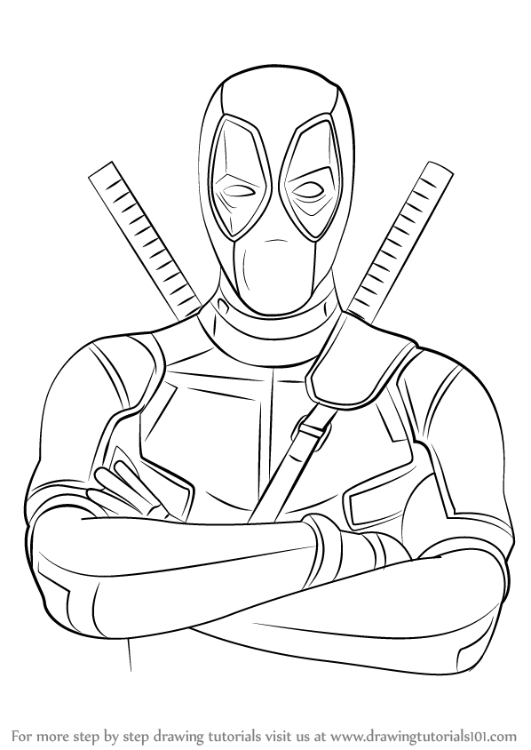 Step by step how to draw deadpool for Learn to draw cartoons step by step lessons