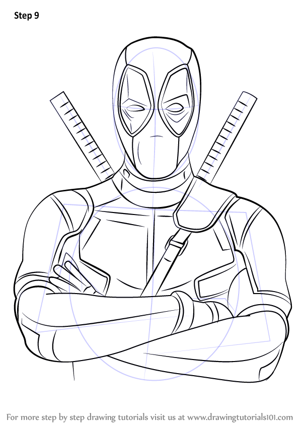 Learn how to draw deadpool deadpool step by step for Learn to draw cartoons step by step lessons