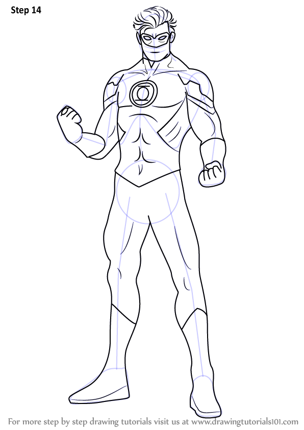 Learn How to Draw Green Lantern (Green Lantern) Step by Step : Drawing ...