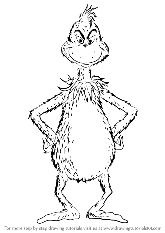 Learn How to Draw The Grinch (Grinch) Step by Step : Drawing Tutorials How To Draw Animals For Kids