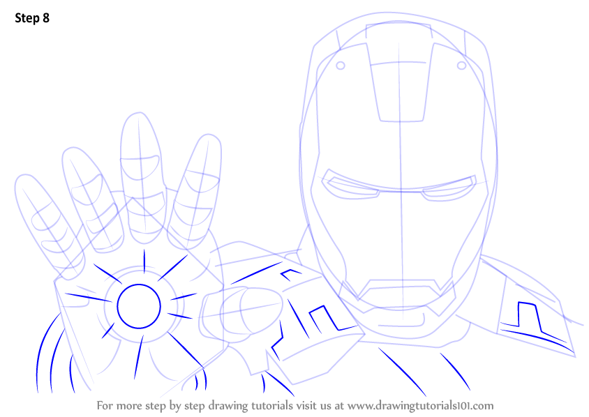 how to draw iron man full body step by step