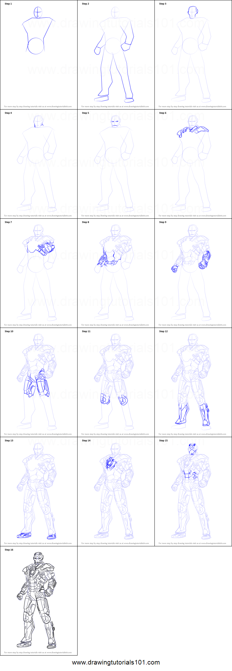 How to Draw Iron Man Full Body printable step by step ...