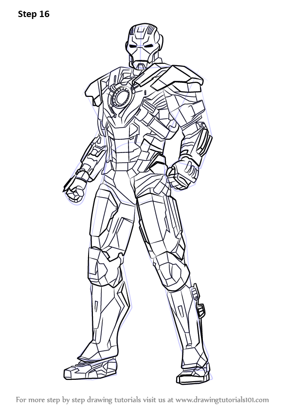 Learn How to Draw Iron Man Full Body (Iron Man) Step by ...