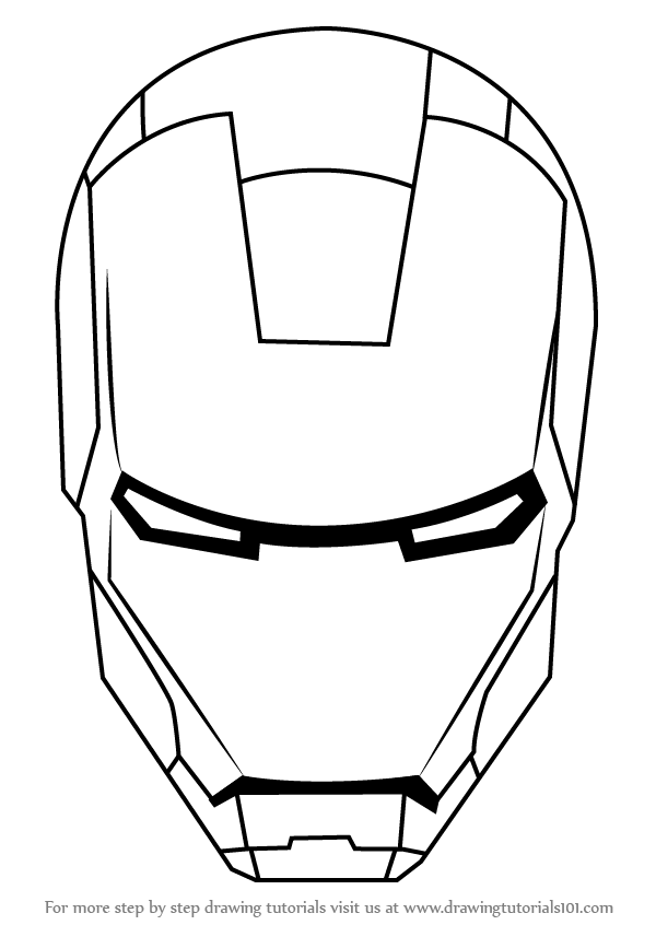 Learn How to Draw Iron Man's Helmet (Iron Man) Step by ...