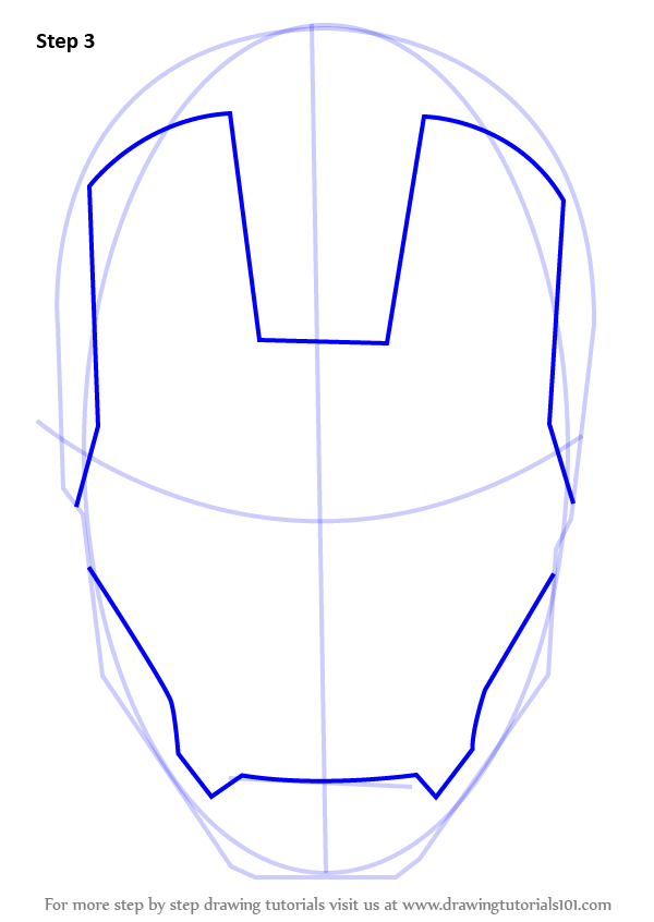 learn how to draw iron mans helmet iron man step by step drawing tutorials
