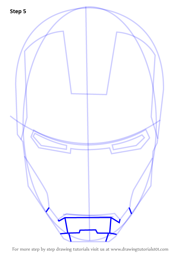 Learn How To Draw Iron Manu0026#39;s Helmet (Iron Man) Step By Step  Drawing Tutorials