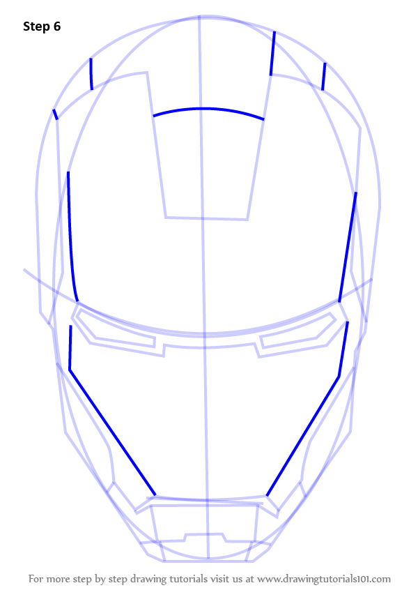 Learn how to draw iron mans helmet iron man step by step learn how to draw iron mans helmet iron man step by step drawing tutorials ccuart