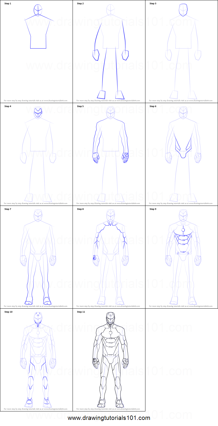 how to draw iron man suit printable step by step drawing sheet drawingtutorials101com