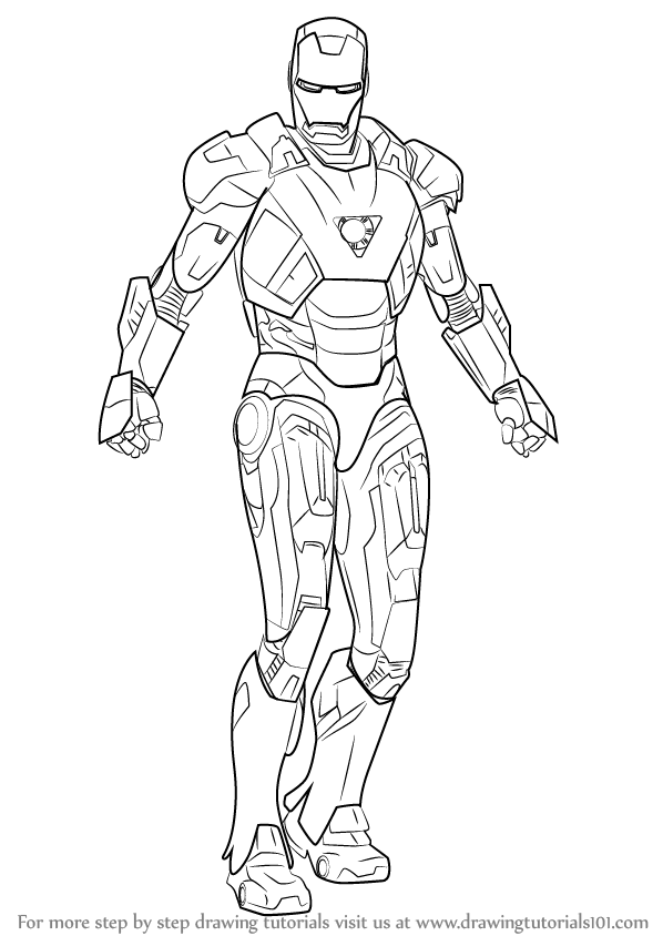 Image gallery iron man drawings for Learn to draw cartoons step by step lessons