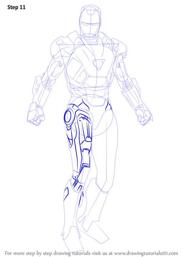 how to draw iron man full body flying