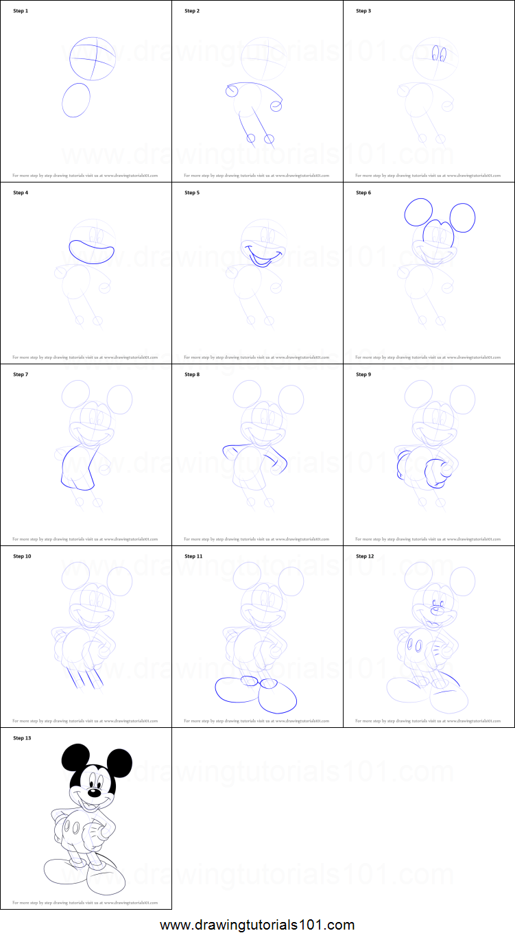 How to draw mickey mouse printable step by step drawing for How to draw a cartoon mouse step by step