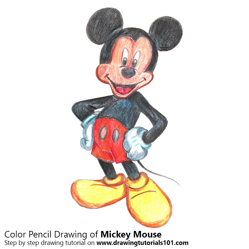 Best Of Mickey Mouse Cartoon Easy Drawing With Colour ...