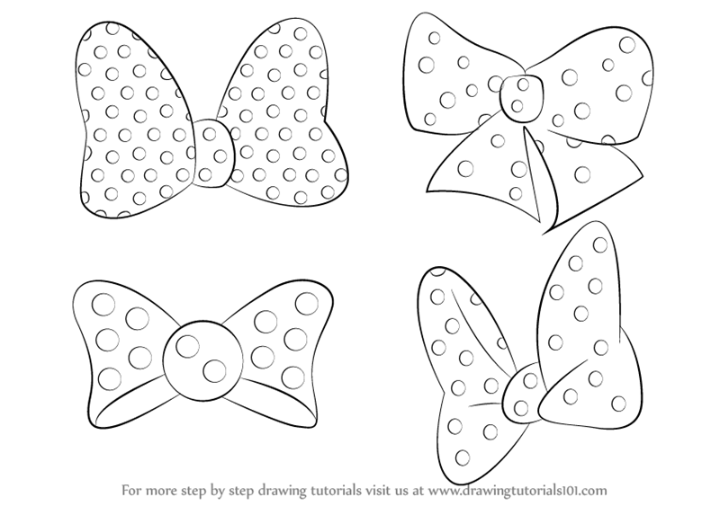 Learn how to draw minnie mouse bow tie minnie mouse step by step drawing tutorials