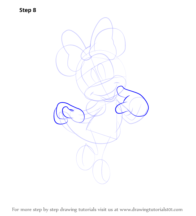Learn how to draw minnie mouse minnie mouse step by step for Learn to draw cartoons step by step lessons
