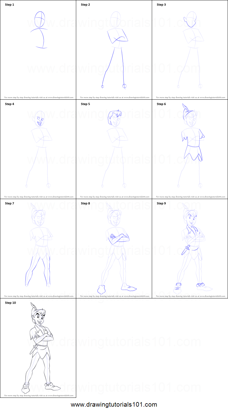 How to Draw Peter Pan printable step by step drawing sheet