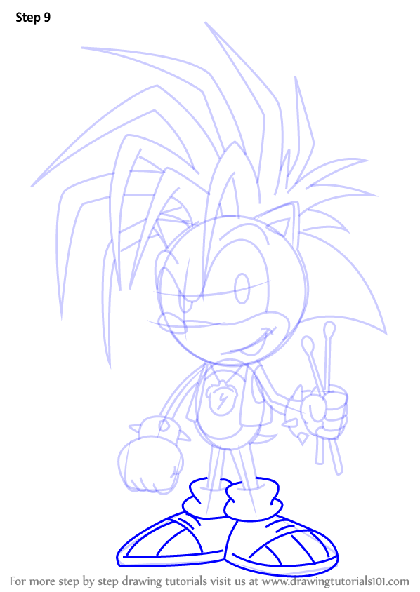 how to draw sonic body