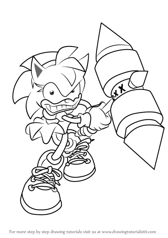 step by step how to draw rosy the rascal from sonic the hedgehog