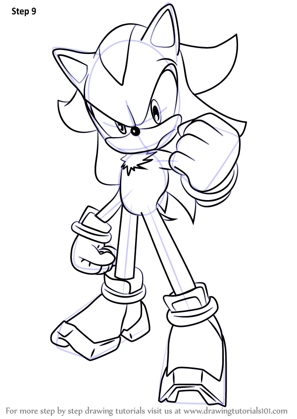 Learn How To Draw Shadow The Hedgehog From Sonic The Hedgehog