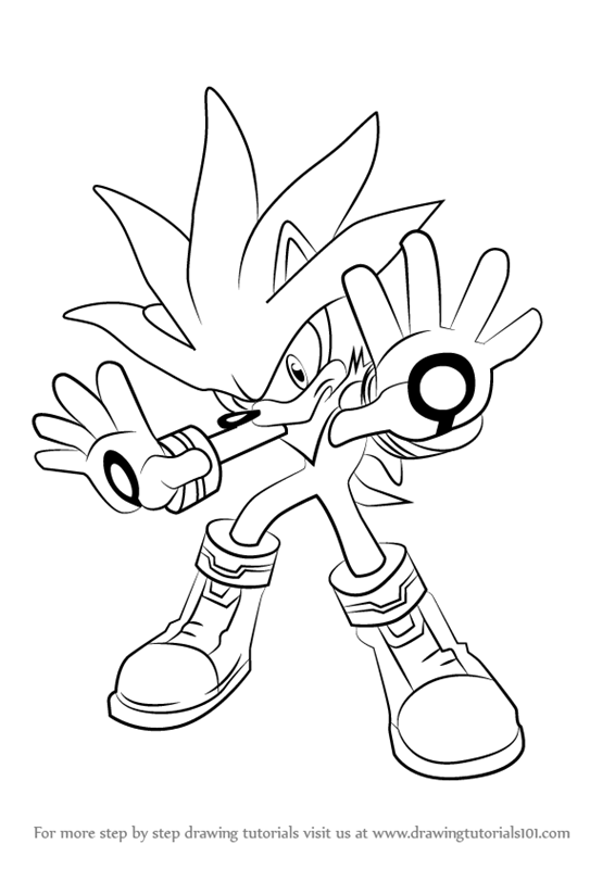 How to draw silver the hedgehog from sonic the hedgehog