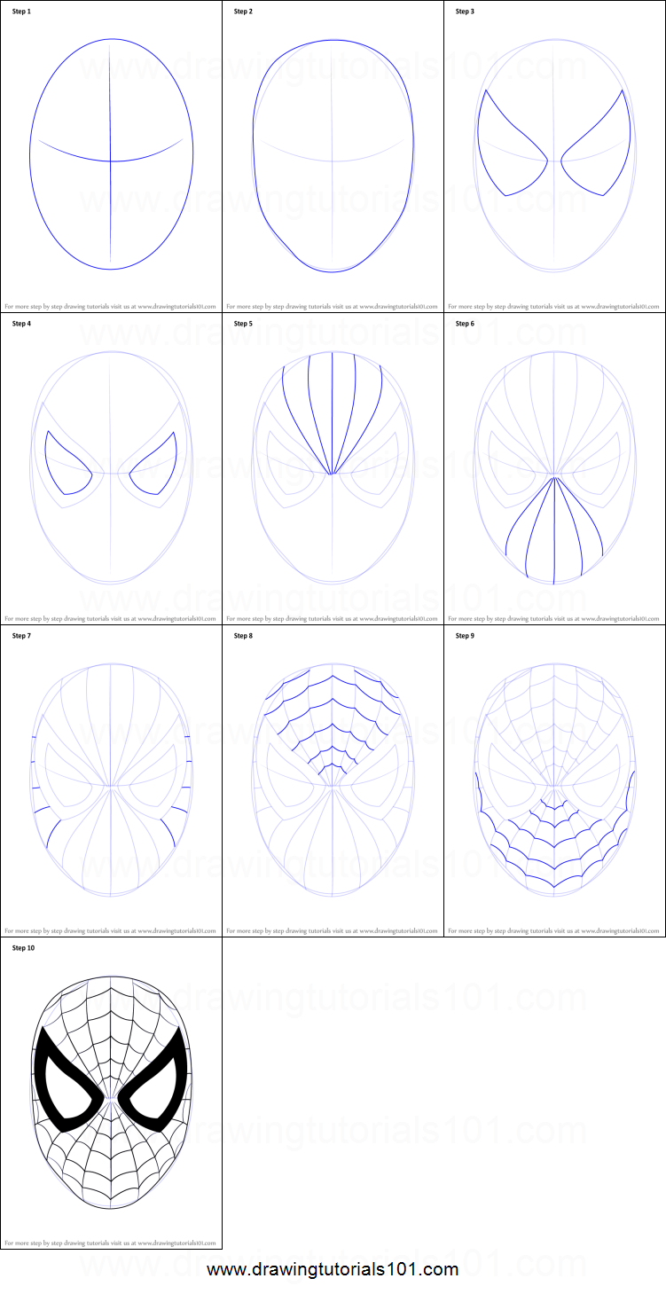 How To Draw Spiderman Face Printable Step By Step Drawing Sheet