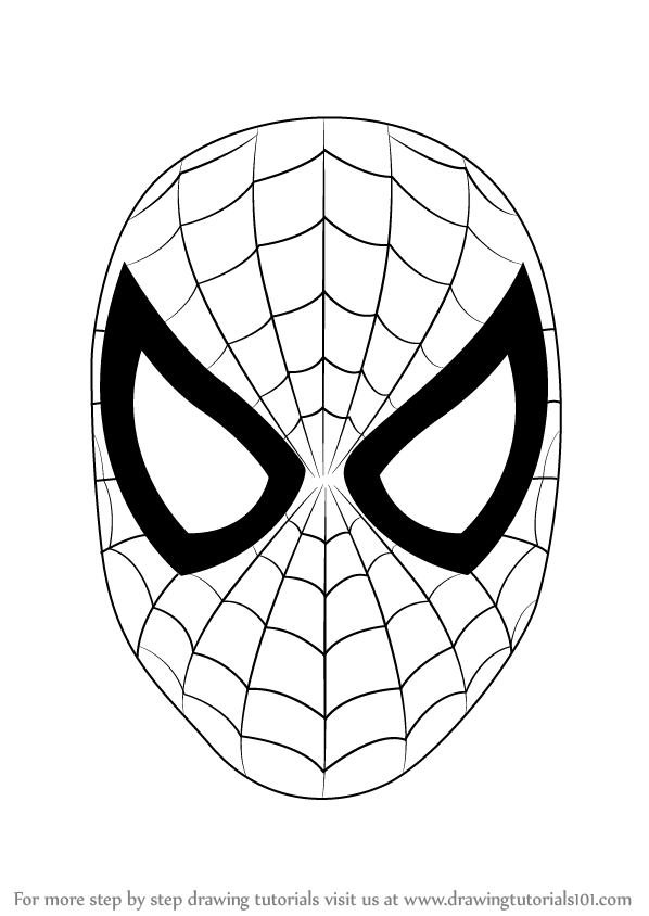Spiderman Face Line Drawing : Learn how to draw spiderman face step by