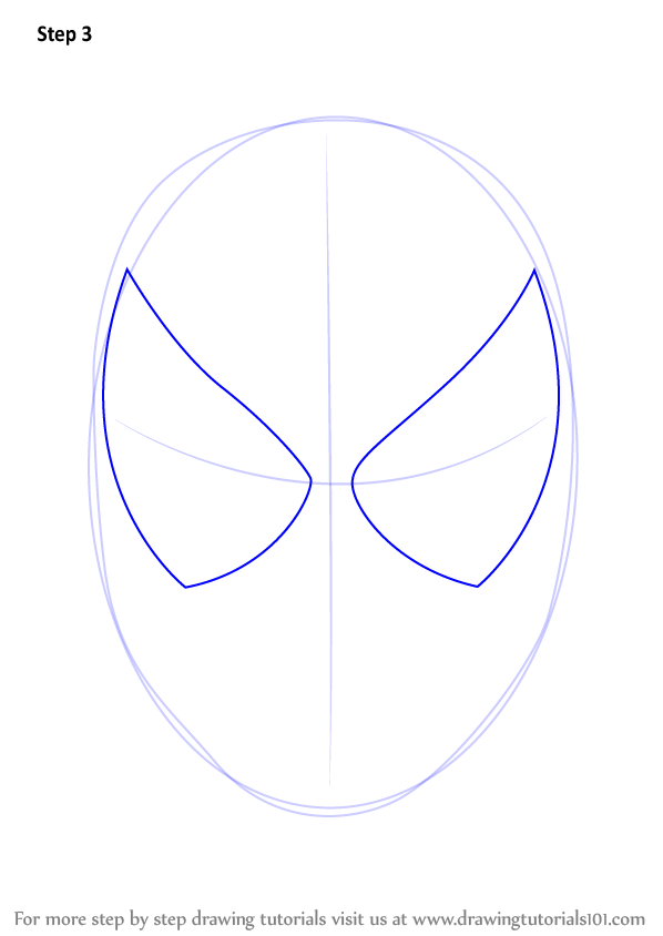 Learn How To Draw Spiderman Face Spiderman Step By Step Drawing Tutorials