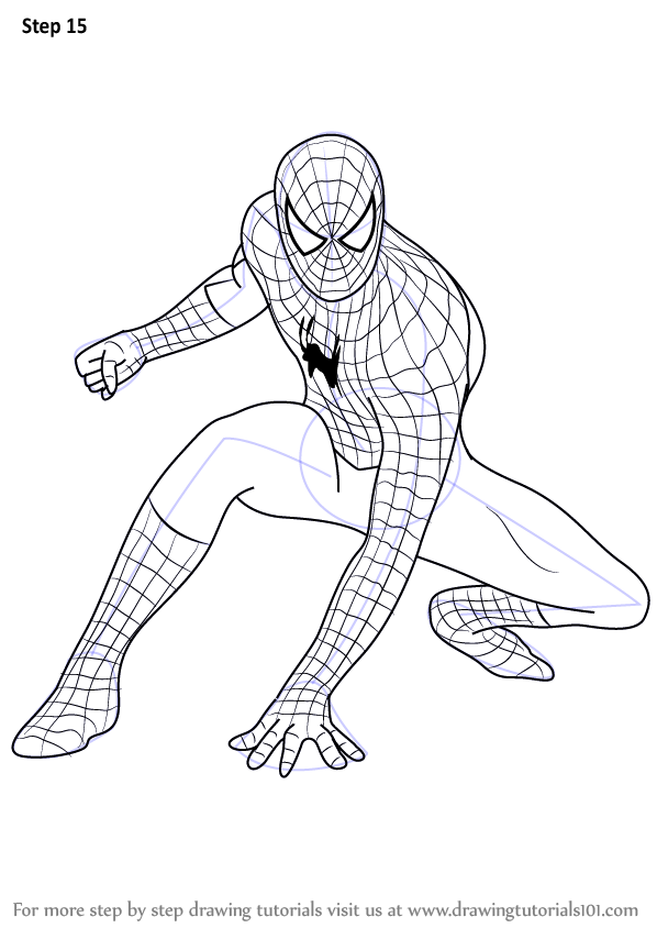 Image gallery spider man drawings for Learn to draw cartoons step by step lessons