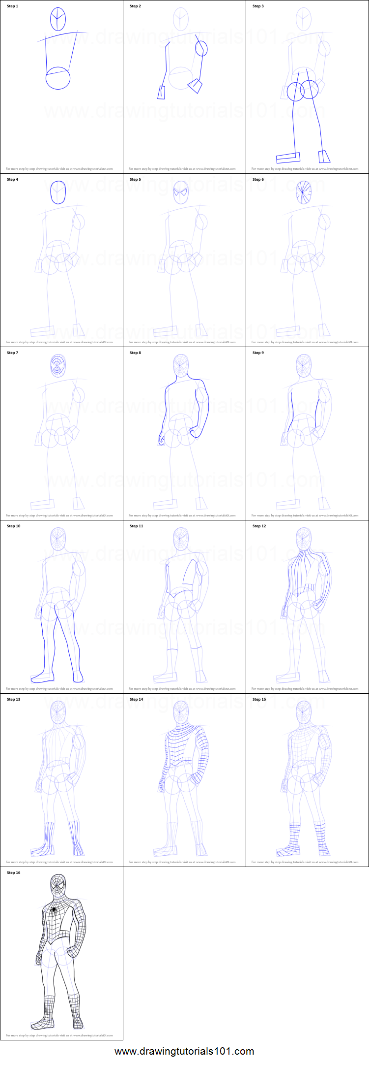 How To Draw Spiderman Standing