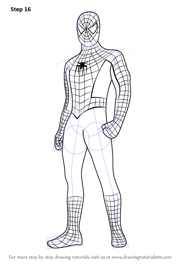 Learn How To Draw Spiderman Standing Spiderman Step By Step