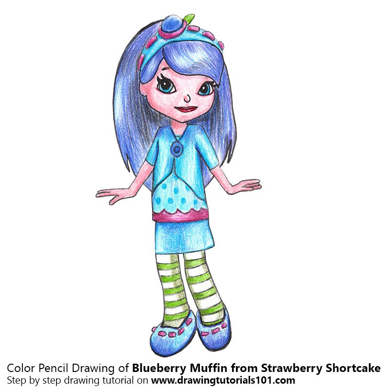 Blueberry Muffin from Strawberry Shortcake Color Pencil Drawing